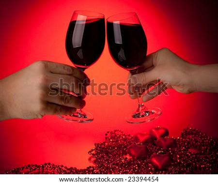 two glasses of wine. stock photo : Two glasses of