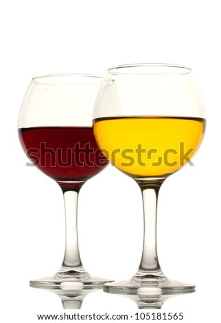 two glasses of wine isolated on white