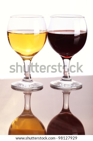 Two glasses of wine, red wine and white wine