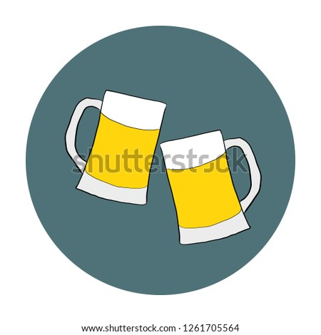 Two glasses with beer on white background. Friendly gatherings. A pub.  illustration.