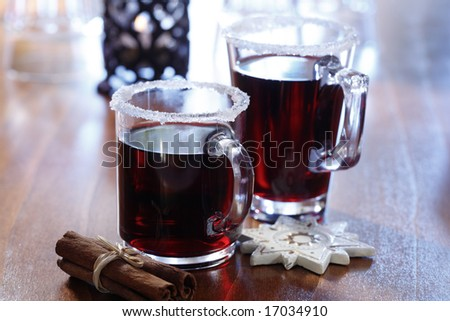 Two glasses with hot drinks