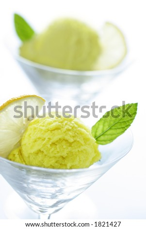 two glasses with lemonsorbet