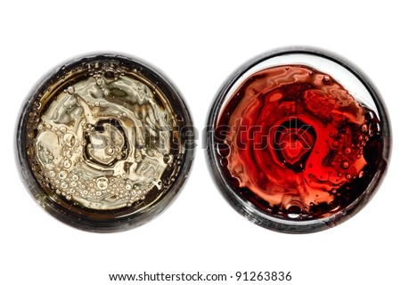 Two glasses with white and red wine, top view