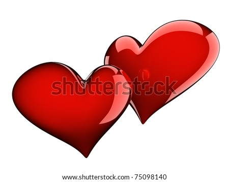 two glossy red hearts isolated on white