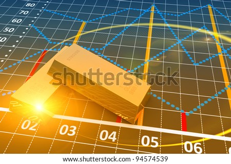 Two gold bars with a linear chart