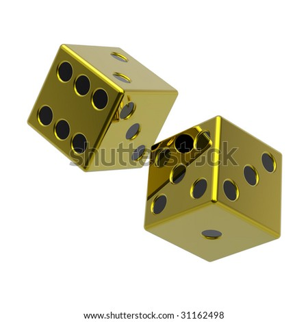 Two gold dices isolated on white. Computer generated 3D photo rendering.
