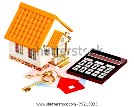 Two gold keys, house and calculator. Objects isolated over white