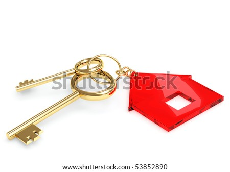 Two gold keys with label symbol home