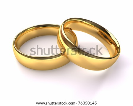 Two gold rings stacked together one on the other, 3d render