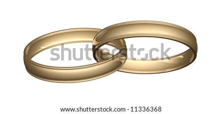 two gold wedding rings or bands linked or joined great