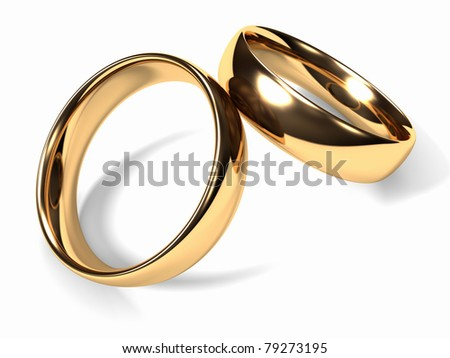 Two gold wedding rings together, white background