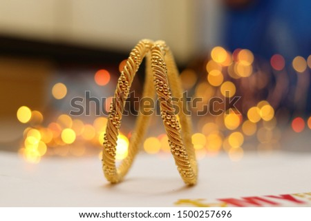 Two golden bangles with spiral design #1500257696