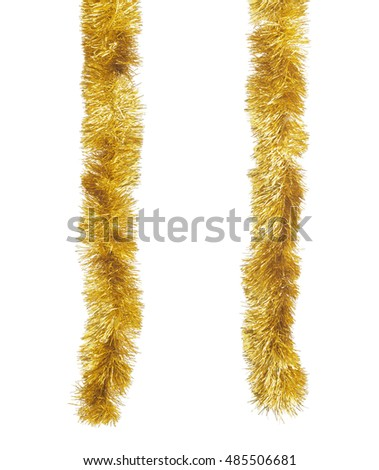 Two golden Christmas tinsels hanging in vertical position. Isolated on white background #485506681
