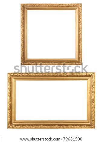 two golden vintage wooden frames isolated on white