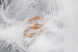 Two Golden Wedding Rings and Feathers - gentle soft background for marriage