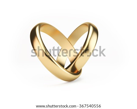 Two golden wedding rings on isolated white background symbolizing marriage; love; relationships; proposals; valentine's day; engagement etc... Stock photo ©