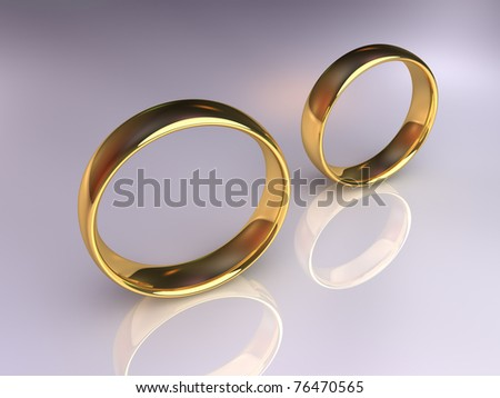 Two golden wedding rings together but apart, 3d render