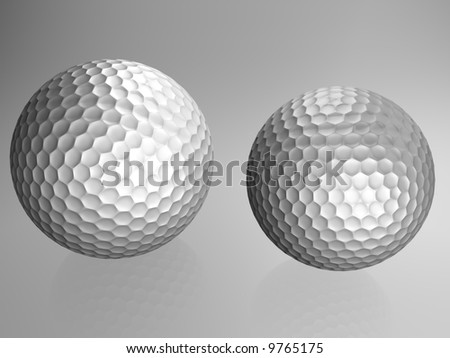 Two golf balls with reflection