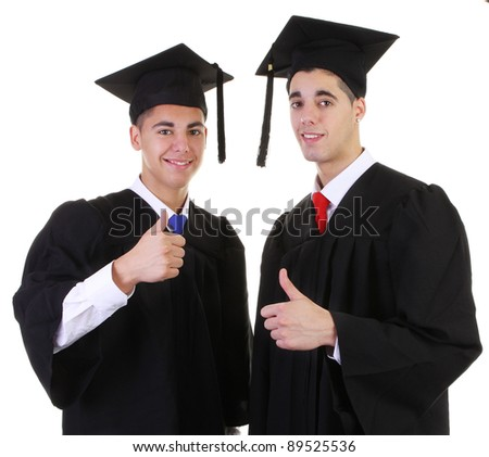 Two graduates with thumbs up
