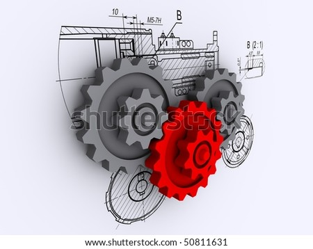 two gray and one red gears against a background of engineering drawings with shadow