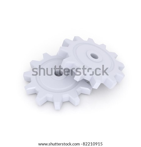 Two Gray Gears isolated over white
