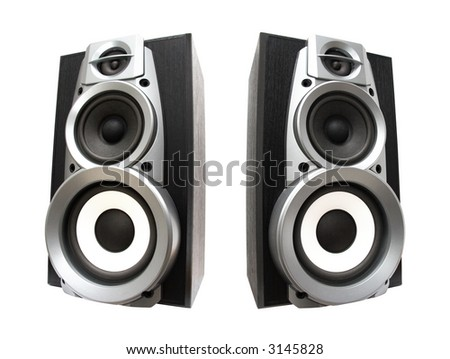 Two great loud speakers. Isolated on white. Not copy of one loud speaker.