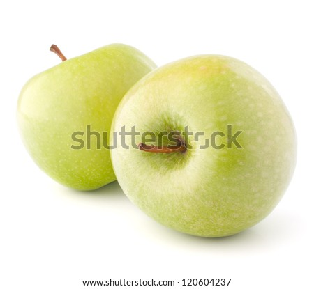 two green apples isolated on white background