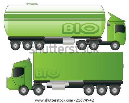 Two Green Biofuel Truck Transport Drawing