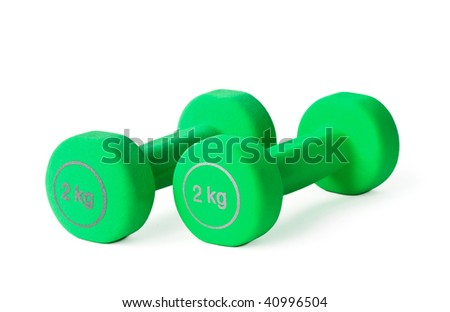 Two green dumbbells on the white background