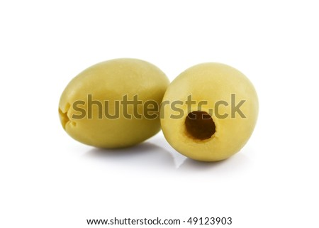 two green olive isolated on white