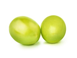 Two green olives isolated on white background with clipping path.