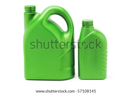 Two green plastic lubrication oil containers on white background