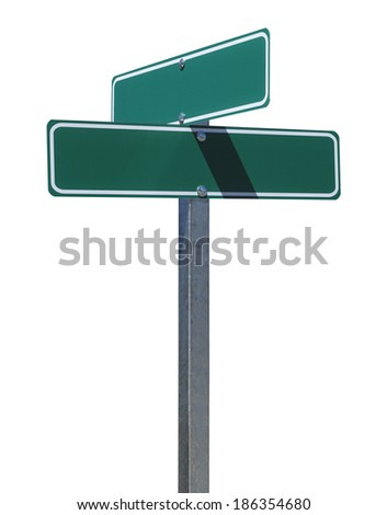 Two Green Street Signs on Metal Pole With Copy Space Isolated on White Background. #186354680