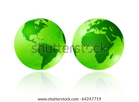 two green transparent earth globes on white background - three dimensional illustration - ecology symbol