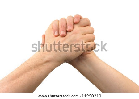 Two greeting hands, isolated on white background