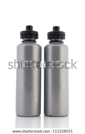 Two grey sports water bottles isolated over white bottles