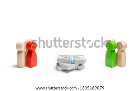 Two groups of people figures and a bunch of money between them on a white background. concept of the tender and the competition for receiving the order. fight for funding, competition in the market