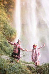 Two Guel Dancer In Tansaran Bidin Waterfall. Guel Dance : The Guel dance was one of the Gayo cultural treasuries in Aceh. It was combination from literature musical art and the dance art personally.