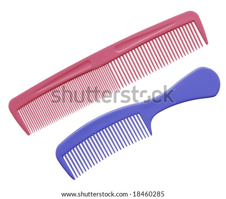 Two hair comb isolated on white background