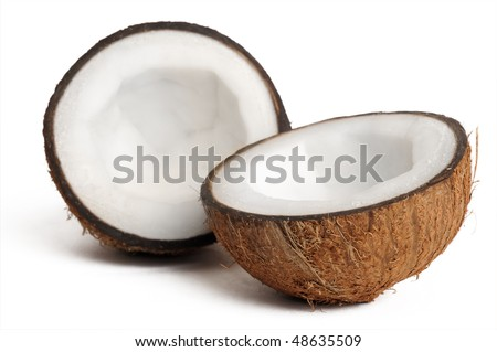 two halfs of coconut isolated on white with shadow