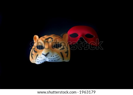 Two Halloween Masks Isolated on Black