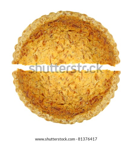 Two halves of a quiche lorraine on a white background. - stock photo
