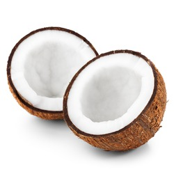 Two halves of coconut isolated on white