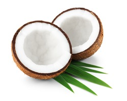 Two halves of coconut isolated on white background