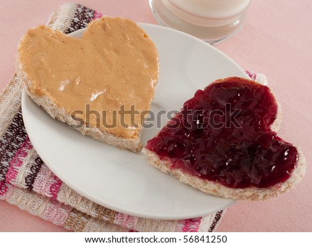 Two Halves of Peanut Butter and Jelly Sandwich