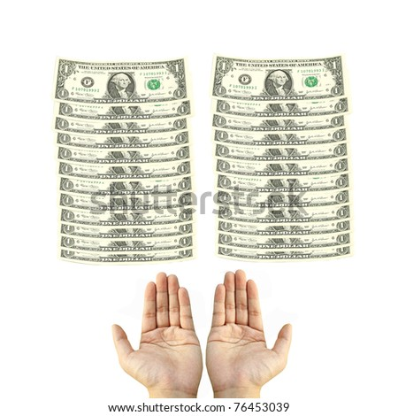 Two hand and two dollar bills stack - stock photo