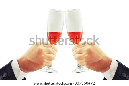 two hand holding drink , toast concept