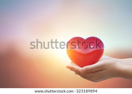 Two Hand holding The Heart shape on a pastel background.Love Concept  Foto stock ©