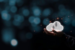 Two hand holding virtual  cloud illustration icon with black background. Cloud technology system is computing sharing management for upload download  transfer electronic information and application.