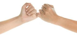 two hand in pinky swear sign on white background